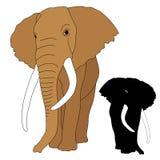 Noir réaliste adulte de silhouette d'éléphant Photographie stock libre de droits