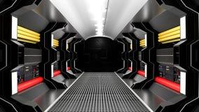 Noir réaliste de couloir de la science fiction de vaisseau spatial illustration stock