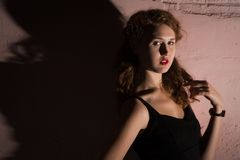 Noir   retrato da menina moreno atrativa Fotografia de Stock Royalty Free