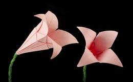 Noir rose d'origami de fleur d'isolement Photos stock