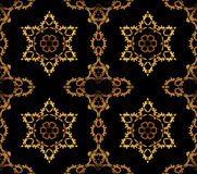 Noir sans couture d'or d'étoiles et d'ornements illustration de vecteur
