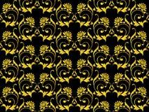 Noir sans couture de vecteur et fleur d'or Photo libre de droits