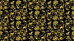 Noir sans couture de vecteur et fleur d'or Photographie stock libre de droits