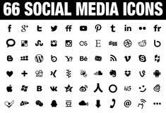 Noir social de 66 icônes de media Photographie stock