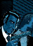 Noir spy scene. Classic noir spy scene in a comic book style stock illustration