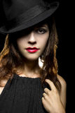 Noir Style Make Up. Actress with classic smoky dark make up in Hollywood film noir style stock photos