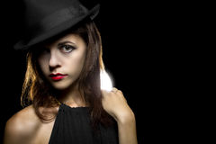 Noir Style Make Up. Actress with classic smoky dark make up in Hollywood film noir style stock photography
