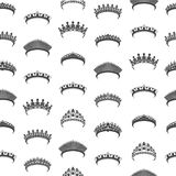 Noir Tiara Seamless Pattern Background de silhouette de bande dessinée Vecteur illustration stock
