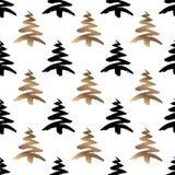 Noir tiré par la main et modèle sans couture d'arbre de Noël d'or d'isolement sur un fond blanc illustration stock