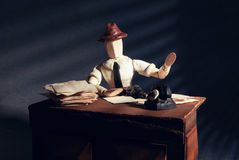 Noir wooden dummy. Royalty Free Stock Image