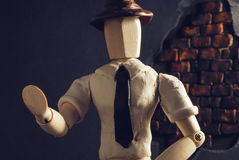 Noir wooden dummy. Royalty Free Stock Images