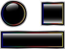 Noircissez les boutons ou les graphismes brillants Image libre de droits