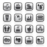 Noircissez une station thermale blanche et détendez les icônes d'objets Images stock