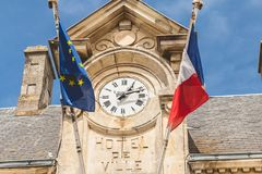 Noirmoutier,法国城镇厅的建筑学细节与 免版税库存图片