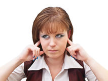 Noise. Woman covering ears from noise Stock Images