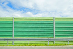 Noise barrier. Close up of green noise barrier Stock Image