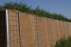 Noise Barrier. View of a noise protection wall on a street stock photos