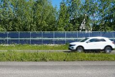 Noise barriers with integrated solar panels royalty free stock photos