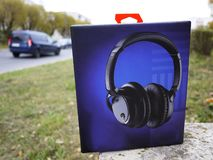 Noise canceling headphones. Serve to suppress external noise. Detail and close-up stock photography