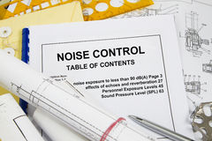 Noise Control. Brochure with blueprint and pencil concept Stock Photography
