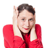 Noise and hearing concept for young woman protecting herself Royalty Free Stock Photo