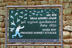 Noise May Provoke Hornet Attacks Board In Sigiriya Sri Lanka. UNESCO site stock photo
