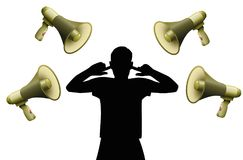 Noise Pollution Cover Ears Loud Megaphones. Noise pollution. Symbolic for hearing damage, tinnitus, hearing disorder, mental stress or insubordination of a Stock Photos