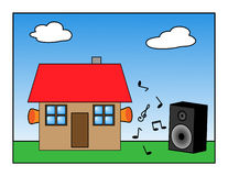 Noise proof. House with ear buds sorrounded with loud music Stock Image