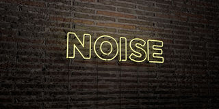 NOISE -Realistic Neon Sign on Brick Wall background - 3D rendered royalty free stock image. Can be used for online banner ads and direct mailers Royalty Free Stock Image