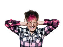 Noise and stress concept - woman covering her ears Royalty Free Stock Photography