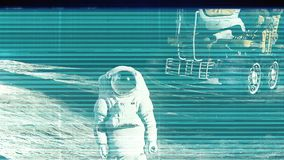 The noise of the TV and Glitch with an astronaut. HD The noise of the TV and Glitch with an astronaut stock video footage
