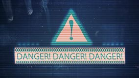The noise of the TV and Glitch with the inscription Danger. HD The noise of the TV and Glitch with the inscription Danger stock footage
