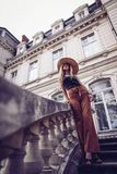Noise. Vintage Style. Beauty stylish young woman in dress si royalty free stock images