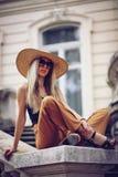 Noise. Vintage Style. Woman portrait in Lviv, Ukraine. Happy can stock photography