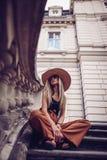 Noise. Vintage Style. Woman portrait in Lviv, Ukraine. Happy can royalty free stock image