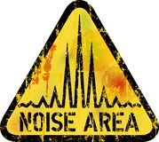 Noise warning sign, grungy style, vector illustration. Noise warning sign, noise area sign, grungy style with texture, vector illustration royalty free illustration