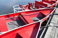 Noiseless boats are docked at the wharf. Royalty Free Stock Images