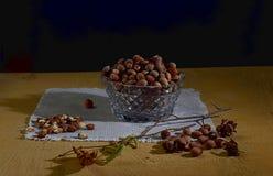 Noisette Nuts dans un navire en cristal et une brindille de noisette avec des fleurs Photo libre de droits