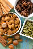 Noisettes, cannelle, anis, amandes, cardamome. Images stock