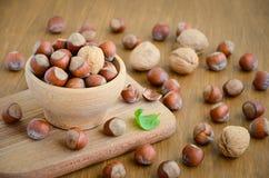 Noisettes et noix dans une cuvette en bois Photographie stock libre de droits