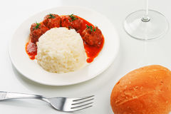 Noisettes with rice garnish Stock Images