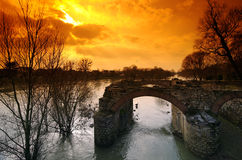 Ruin of mill in Marne river Royalty Free Stock Photography