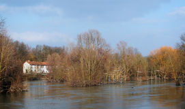 Marne river flood in French country stock image