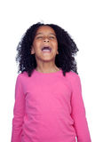 Noisy little girl shouting. Isolated on a white background Royalty Free Stock Photo