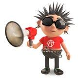 Noisy punk rocker is speaking through an amplified megaphone, 3d illustration. Render stock illustration