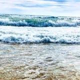 Noisy sea. With big waves near the shore on the beach stock photos