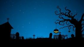 Noite assustador da Lua cheia de Dia das Bruxas com árvore, as sepulturas, abóbora estalam acima e golpeiam animações video estoque