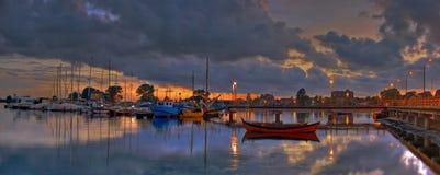 Noite atrasada de Yachtport Imagens de Stock