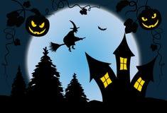 Noite azul do Dia das Bruxas da Lua cheia com bruxa - ilustração Imagens de Stock