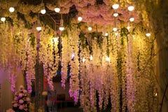 Noite bonita luxuosa da decoração com luzes para o casamento imagem de stock